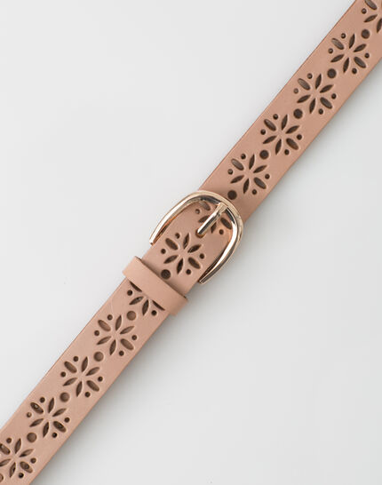 Yolo fine pale pink belt in perforated leather PhotoZ | 1-2-3