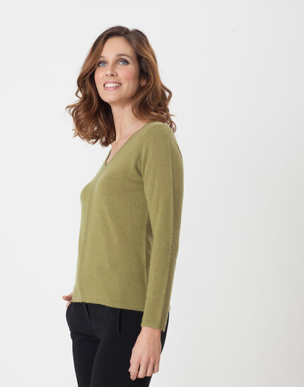 Heart olive green cashmere sweater (3) - 1-2-3