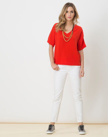 Ellen red shirt with necklace (2) - 1-2-3