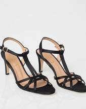 Jackie black open toe pumps black.