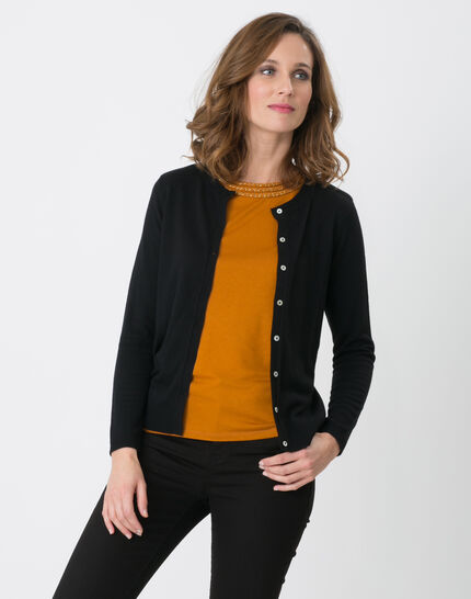 Happiness black cardigan with round collar (1) - 1-2-3