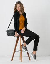 Happiness black cardigan with round collar black.