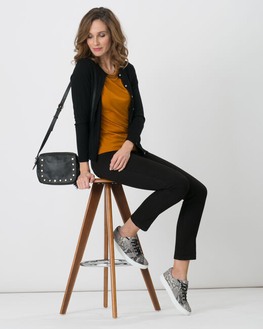 Gilet noir col rond Happiness (2) - 1-2-3