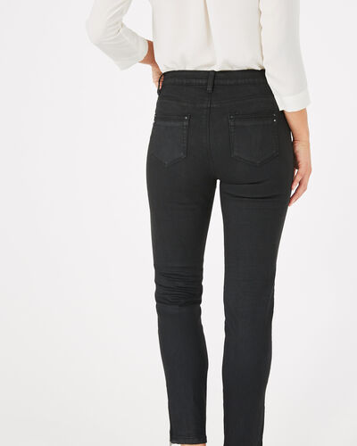 Pia black 7/8 length coated trousers (2) - 1-2-3
