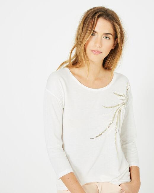 Tee-shirt écru oiseau sequins Beads (2) - 1-2-3