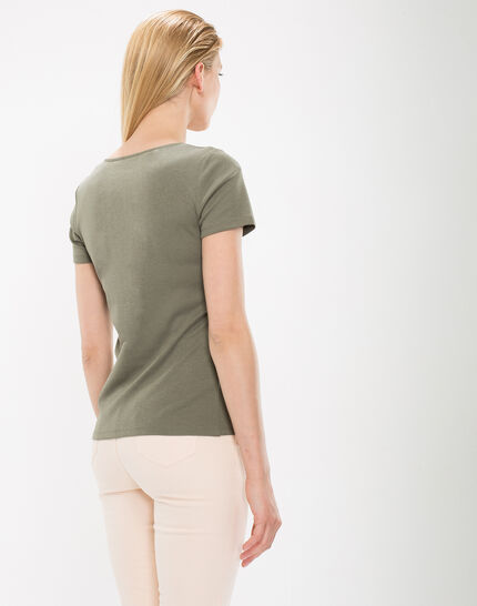 Tee-shirt kaki col strass Nirvana (4) - 1-2-3