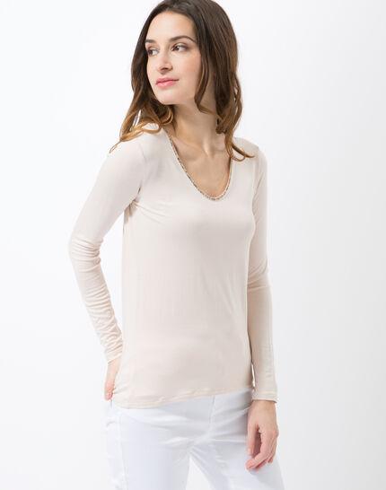Lyubia pale pink V-neck T-shirt adorned with Swarovski crystals (6) - 1-2-3