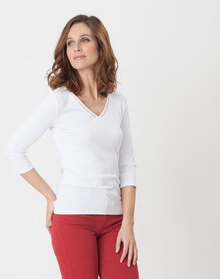 Noria white T-Shirt with embroidered neckline (6) - 1-2-3
