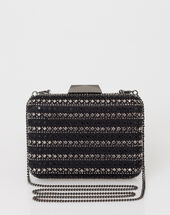 Black diamanté clutch bag black.
