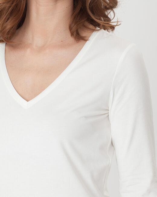 Tee-shirt écru manches 3/4 Nacre (1) - 1-2-3