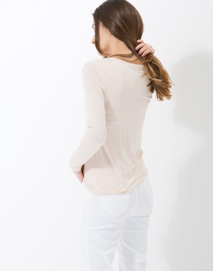 Lyubia pale pink V-neck T-shirt adorned with Swarovski crystals (4) - 1-2-3