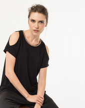 Nude black t-shirt with beaded neckline black.