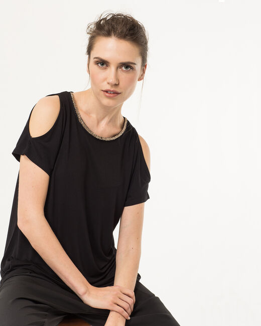 Nude black T-shirt with beaded neckline (1) - 1-2-3