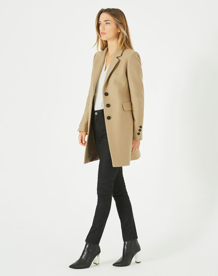 Plume belted camel wool mix coat PhotoZ | 1-2-3