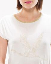 Nurex t-shirt embroidered with lurex threading gold.