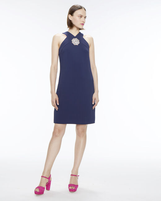 Florine ink blue dress with jewelled detailing (1) - 1-2-3