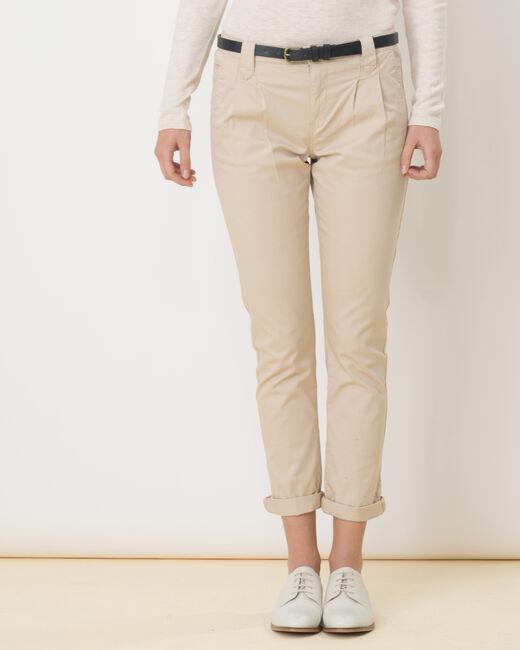 Pantalon carotte beige avec ceinture Diane (2) - 1-2-3