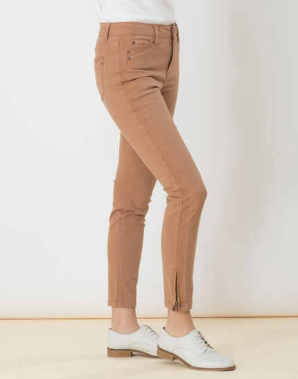 Pia camel 7/8 length satin trousers (5) - 1-2-3
