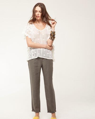 Pantalon chino kaki en lin Dorian (2) - 1-2-3