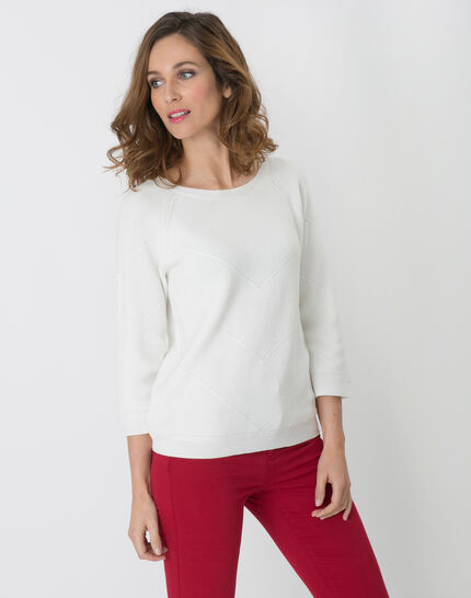Habsinthe ribbed ecru sweater (5) - 1-2-3