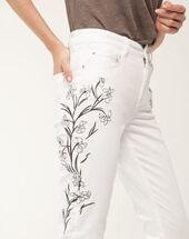 Xilia embroidered cream 7/8 length jeans cream.