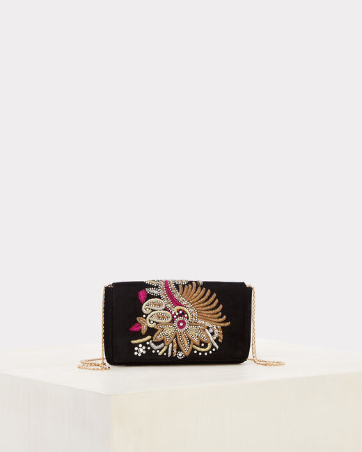 Rosie embroidered black clutch bag (1) - 1-2-3