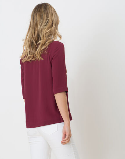 Elvire blackcurrant shirt with necklace (5) - 1-2-3