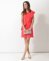 Florence coral asymmetric floaty dress coral.
