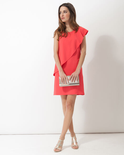 Florence coral asymmetric floaty dress (2) - 1-2-3