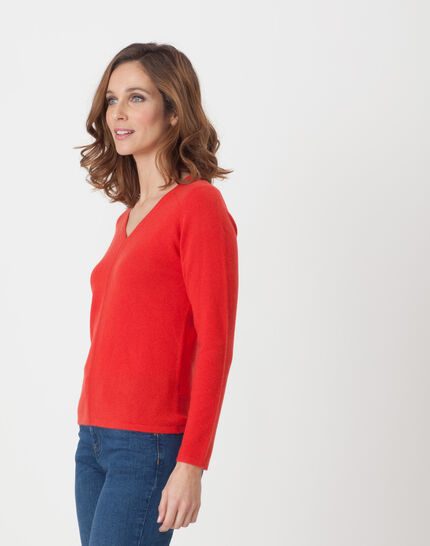 Cashmere sweater in geranium (3) - 1-2-3