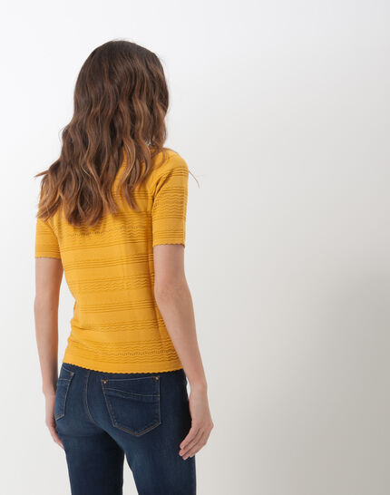 Hélène ochre sweater with stitching detail (4) - 1-2-3