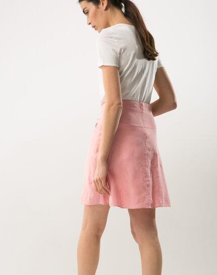 Clairon short pink linen skirt (3) - 1-2-3