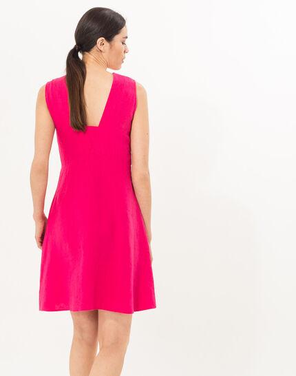 Bonbon fuchsia linen dress (5) - 1-2-3