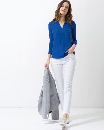 Tee-shirt bleu roi bi-matière Leden (2) - 1-2-3