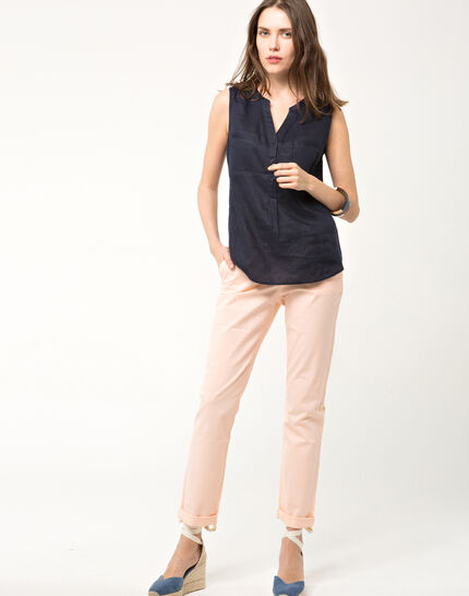 Elise navy linen sleeveless blouse (2) - 1-2-3