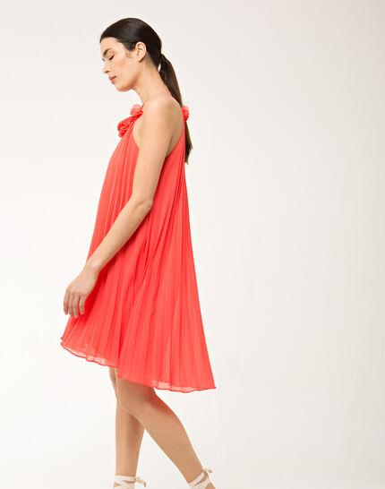 Fidele orange pleated dress (3) - 1-2-3