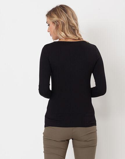 Lyubia black V-neck T-shirt adorned with Swarovski crystals (4) - 1-2-3