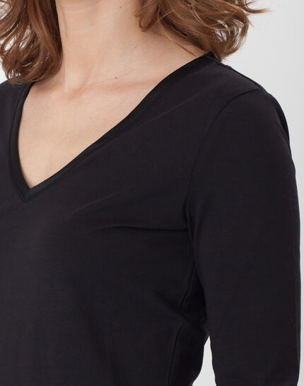Nacre black T-Shirt with 3/4 length sleeves (2) - 1-2-3