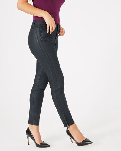 Pia navy blue 7/8 length coated trousers (2) - 1-2-3