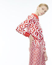 Pantalon rouge imprimé gréométrique deborah.