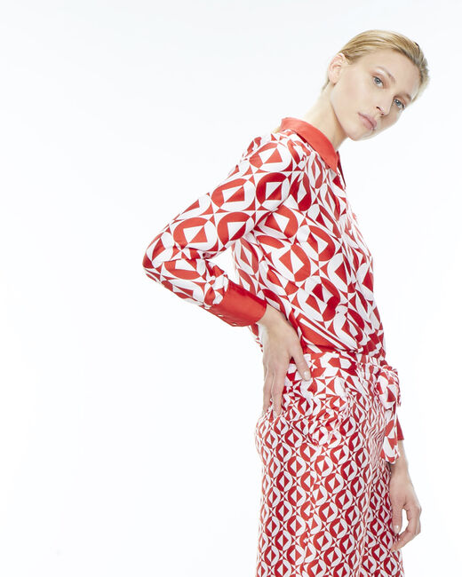 Deborah red trousers with a geometric print  (2) - 1-2-3