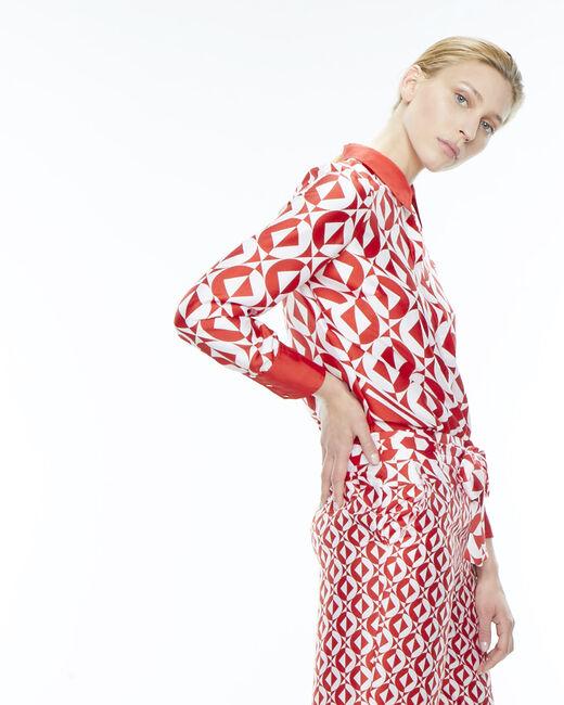 Pantalon rouge imprimé gréométrique Deborah (1) - 1-2-3