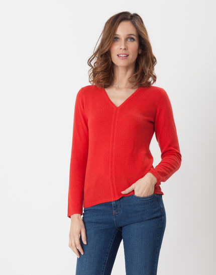 Cashmere sweater in geranium PhotoZ | 1-2-3