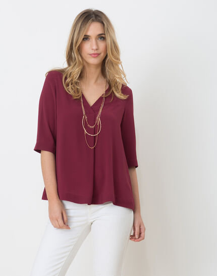 Elvire blackcurrant shirt with necklace PhotoZ | 1-2-3