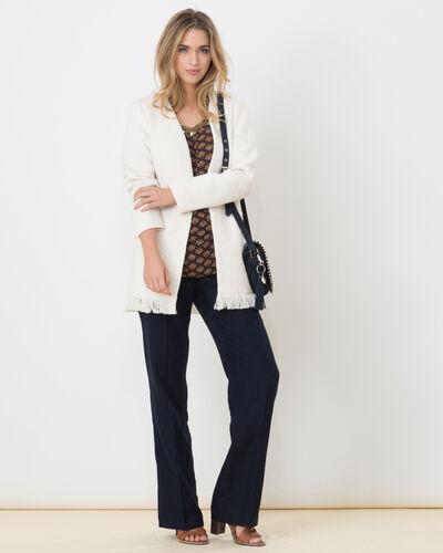 Quamille white coat with fringing (1) - 1-2-3