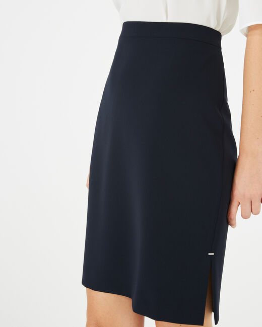 Fanfare navy blue straight-cut tailored skirt (2) - 1-2-3