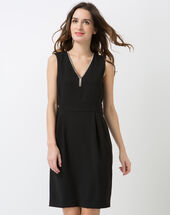 Claudie black v-neck dress with swarovski crystals black.