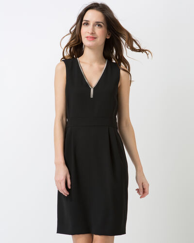 Claudie black V-neck dress with Swarovski crystals (2) - 1-2-3