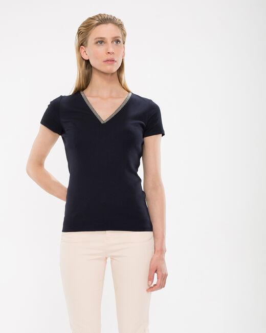 Neck navy blue T-shirt with diamante neckline (1) - 1-2-3