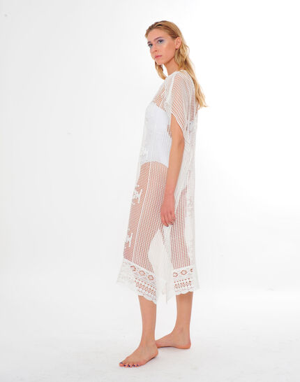 Sophie short white lace kaftan for the beach (5) - 1-2-3